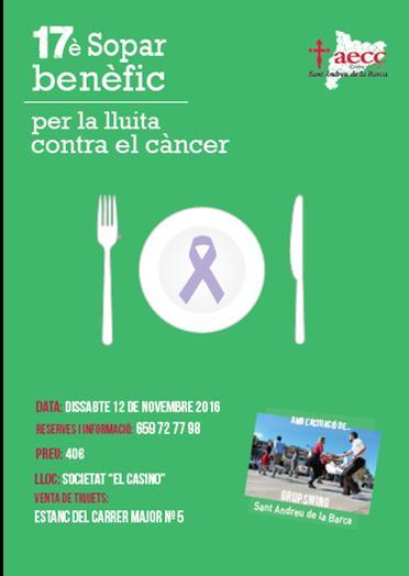 SOPAR BENÈFIC CANCER 2016