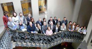 Fotografia de grup amb els ajuntaments pioners
