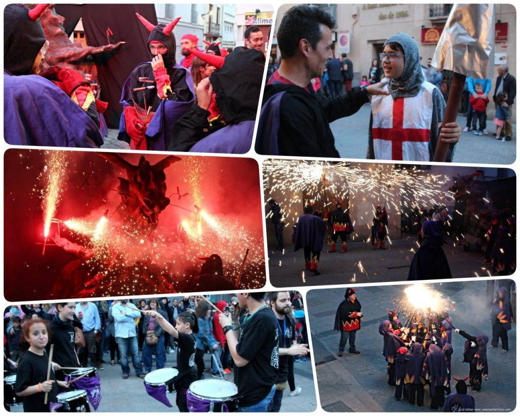 collage Correfoc diables Sant Jordi 2018