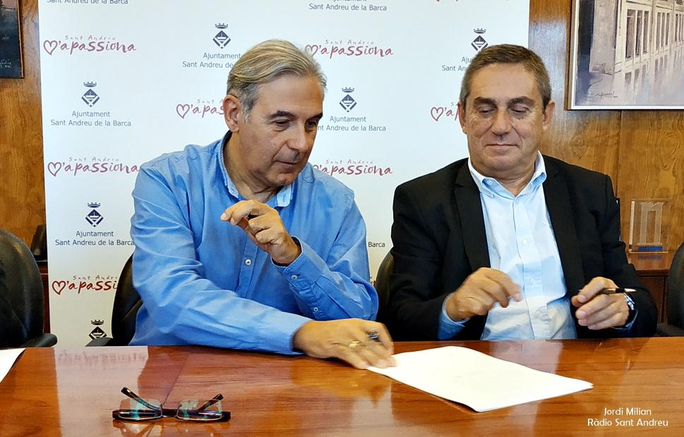 Signatuta conveni Ajuntament Impsol