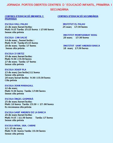 Jornada portes obertes escoles Sant Andreu Barca