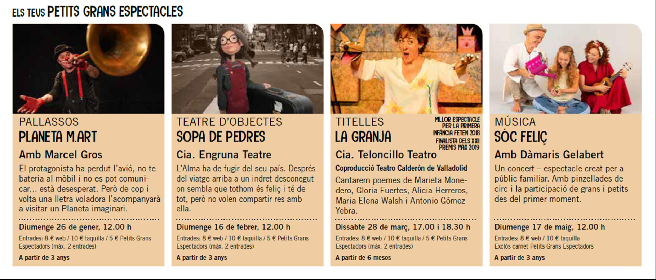 Petits grans espectacles Teatre Nuria Espert 2020