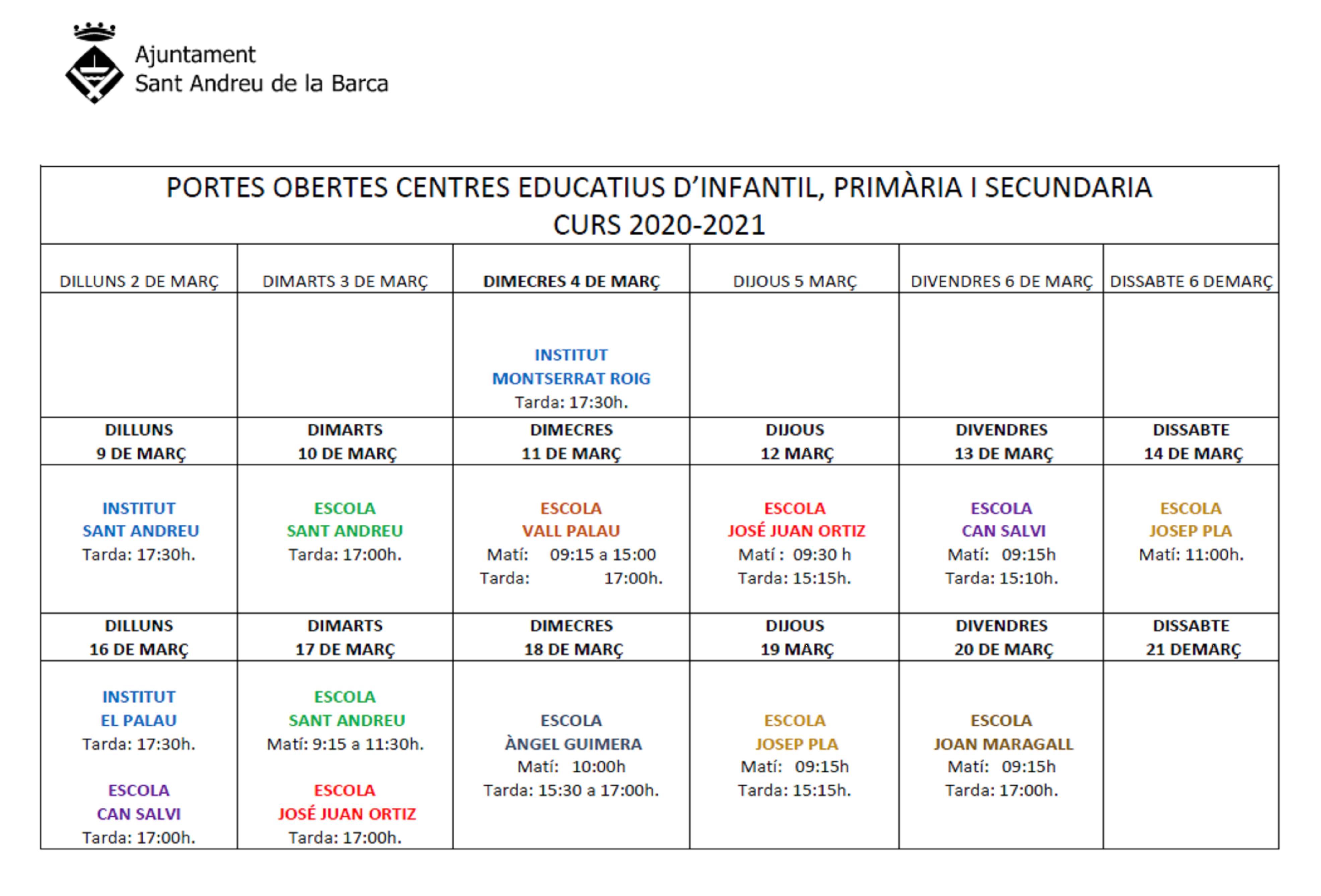 calendari jornades obertes escoles